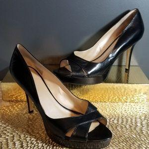 MARC FISHER Black Leather Open Toe Heels